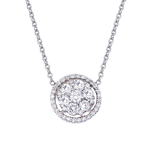 Diamond Cluster Halo 14K Gold Pendant Necklace