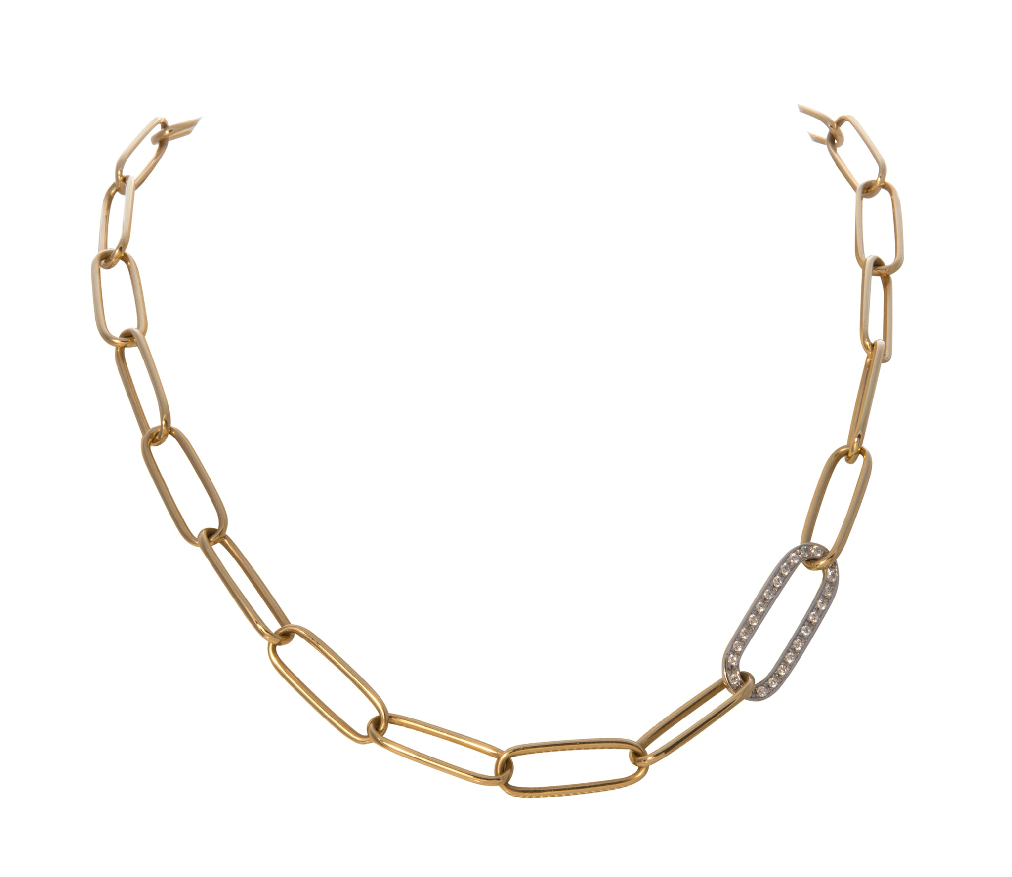 Diamond Accent 18K Yellow Gold Link Necklace