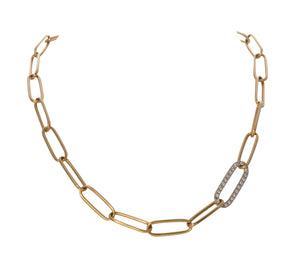 Diamond & Gold Oval Link Necklace