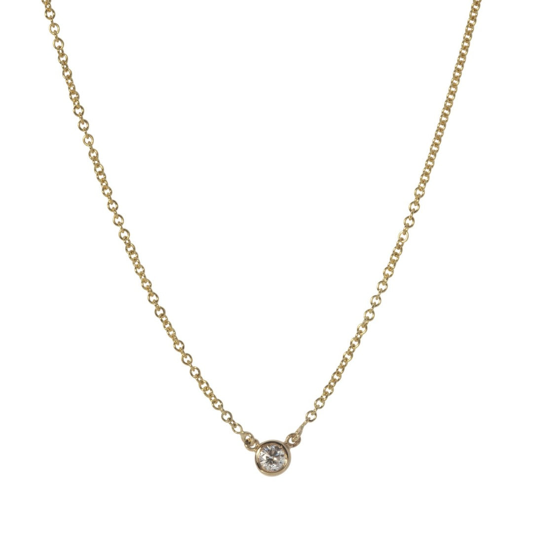 Single Diamond Bezel Necklace in Yellow Gold