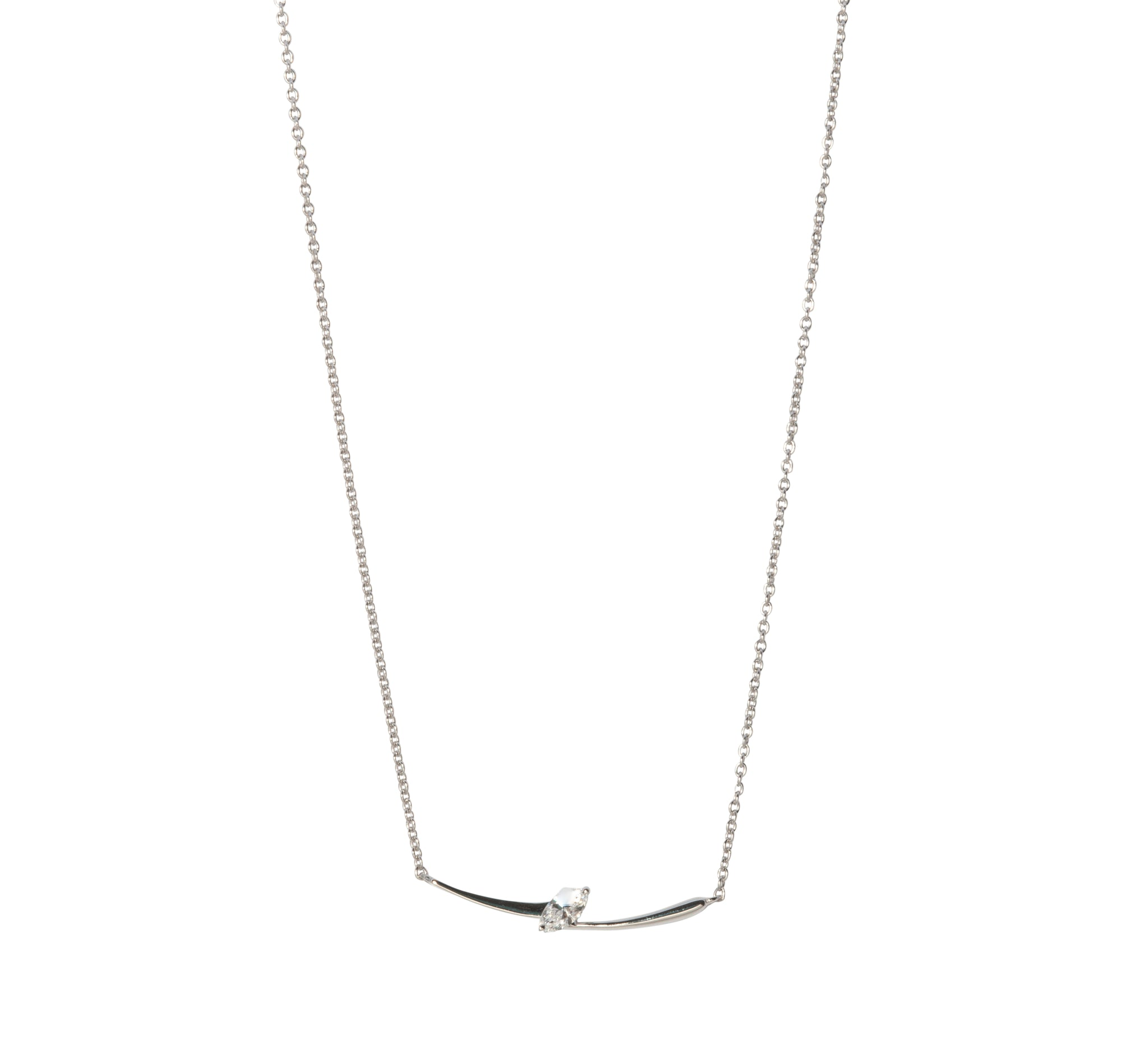Marquise Diamond 14K Gold Curved Bar Necklace