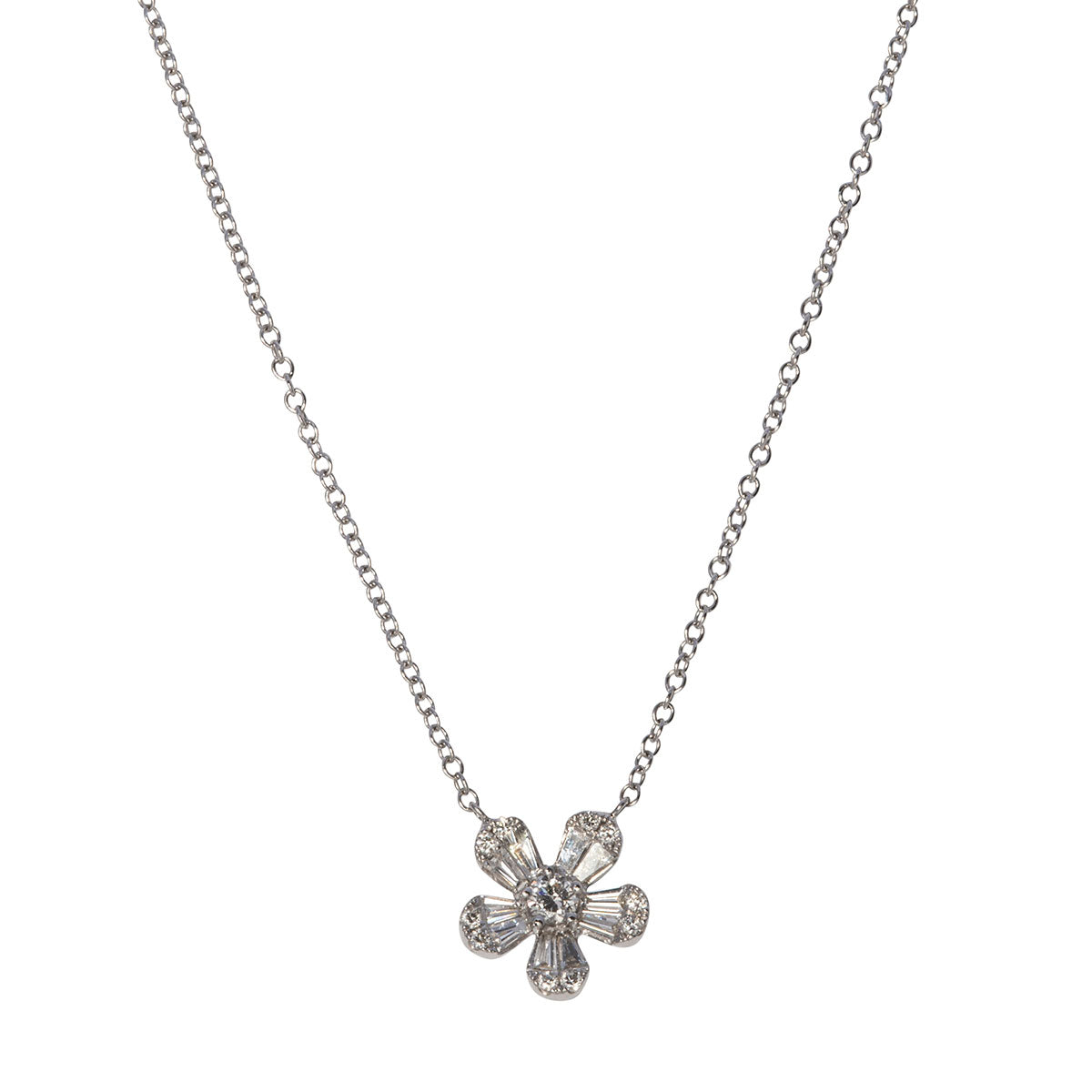 .56ct Diamond Flower 14K White Gold Pendant Necklace