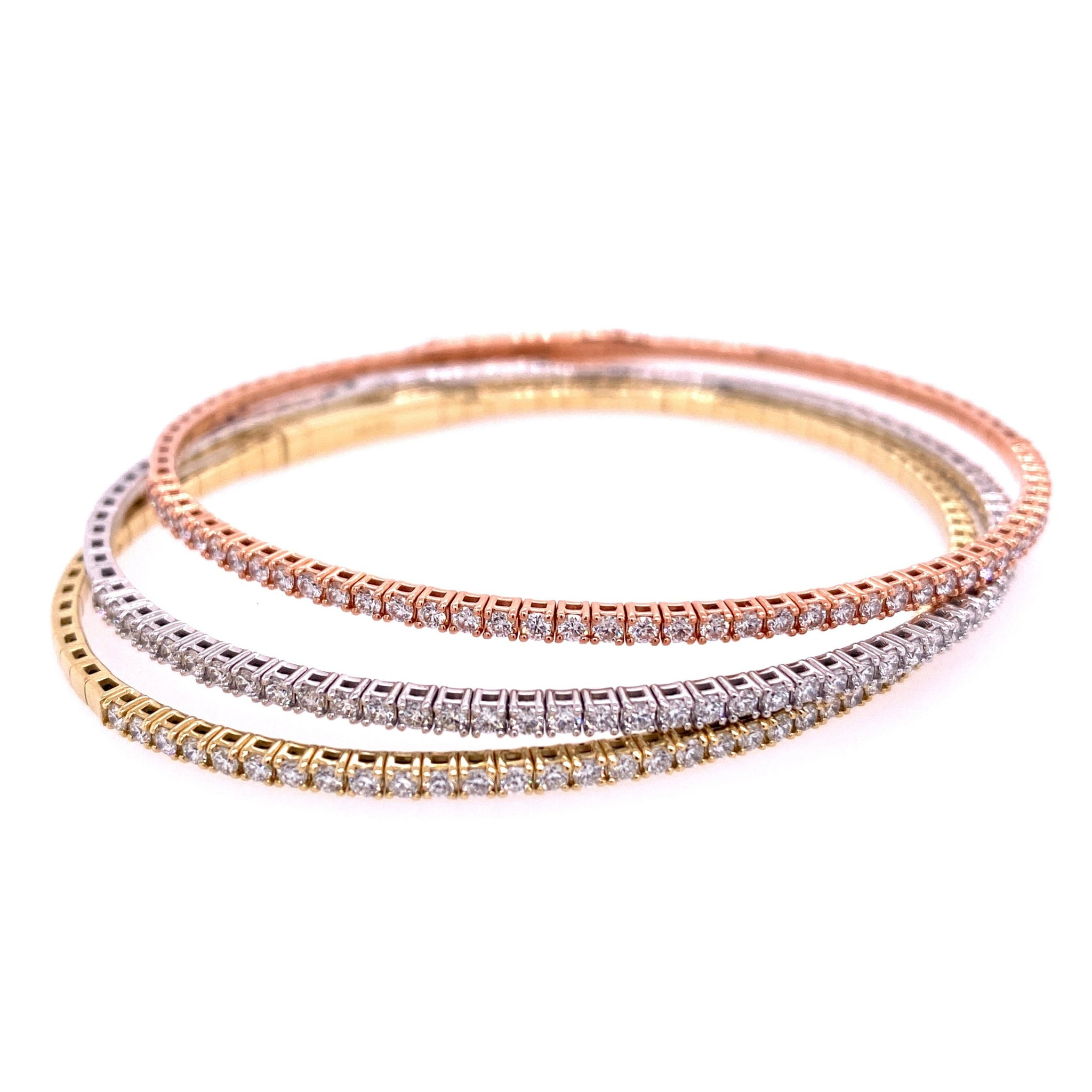 .76ct Diamond 14K Gold Flex Bangle