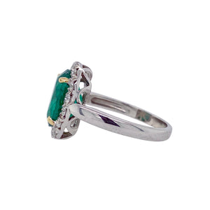 3.27ct Oval Emerald & Diamond Halo 14K Gold Ring