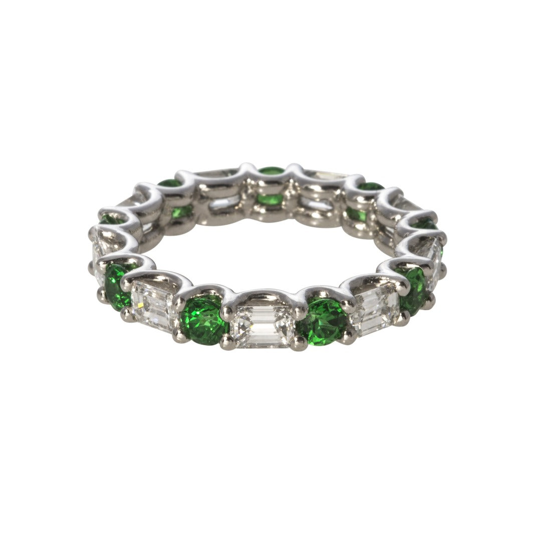 Tsavorite & Diamond Eternity Band