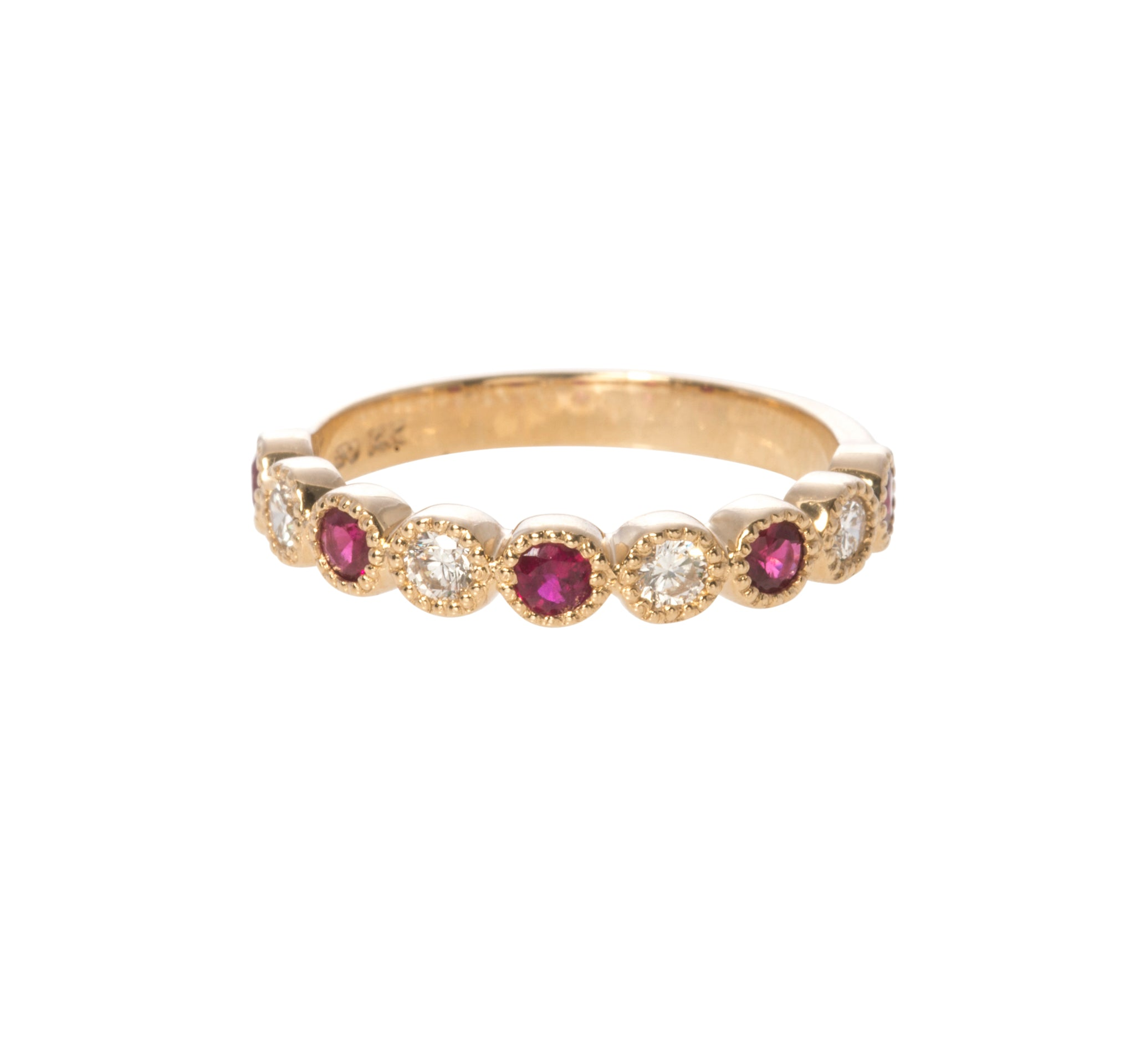 Ruby & Diamond Milgrain Halfway 14K Yellow Gold Band