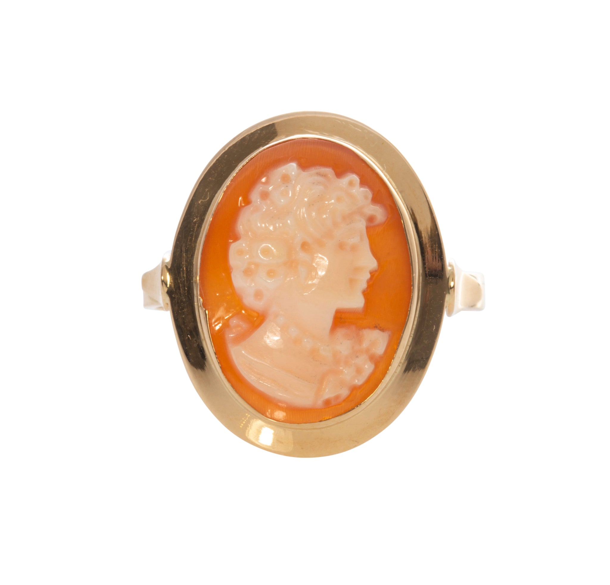 Italian Carved Coral Cameo Ring