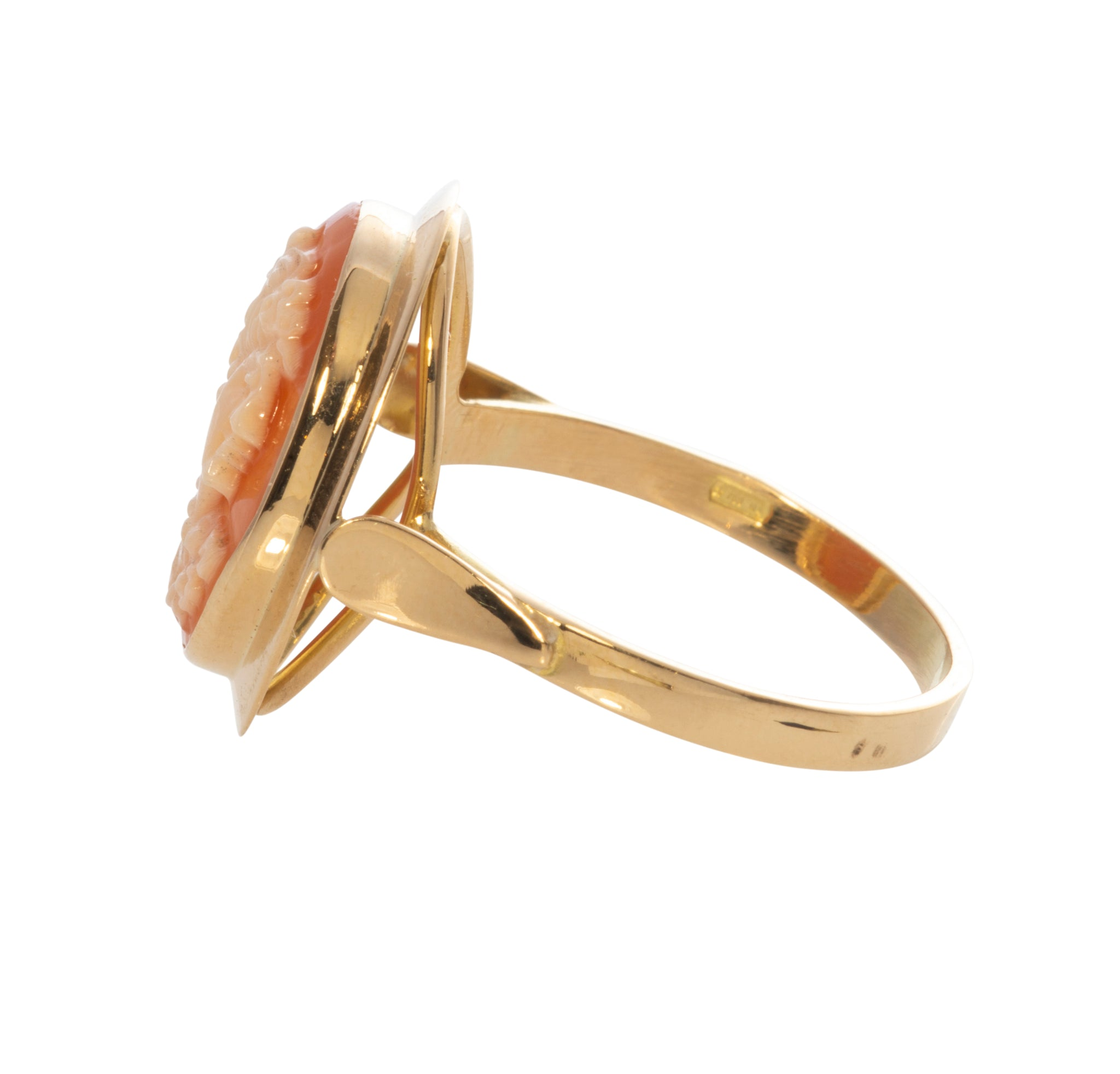 Italian Carved Coral Cameo 18K Gold Ring