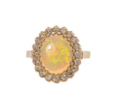 1.85ct Opal & Diamond Halo 14K Gold Ring