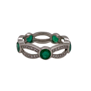 Single Stone Emerald & Diamond Eternity Band