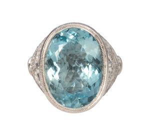 Aquamarine & Diamond 14K White Gold Filigree Ring
