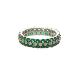 Emerald & Diamond 14K White Gold Eternity Band