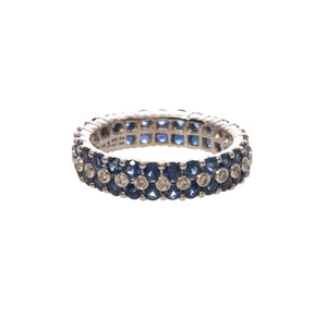 Sapphire & Diamond 14K White Gold Eternity Band