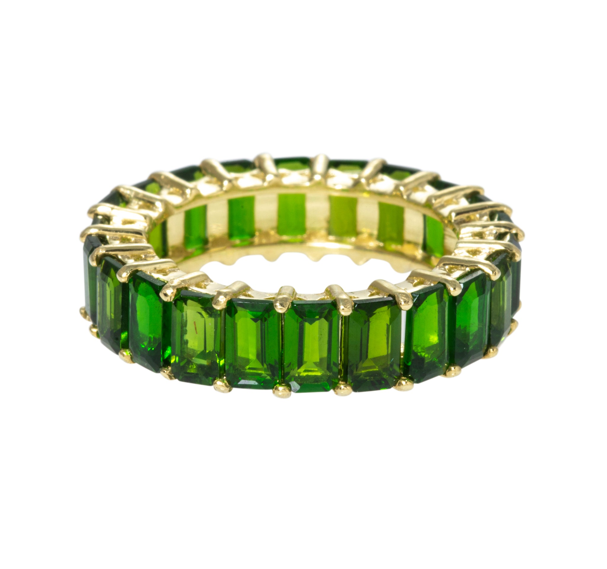 Emerald-Cut Chrome Diopside 14K Gold Eternity Band