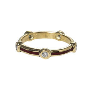 Red Enamel & Diamond 14K Yellow Gold Eternity Band