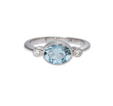 Aquamarine & Diamond 14K White Gold Ring