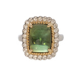 6.41ct Green Tourmaline Cabochon & Diamond 14K Gold Ring