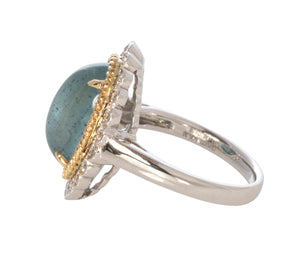 6 Carat Aquamarine Cabochon & Diamond 14K Gold Ring