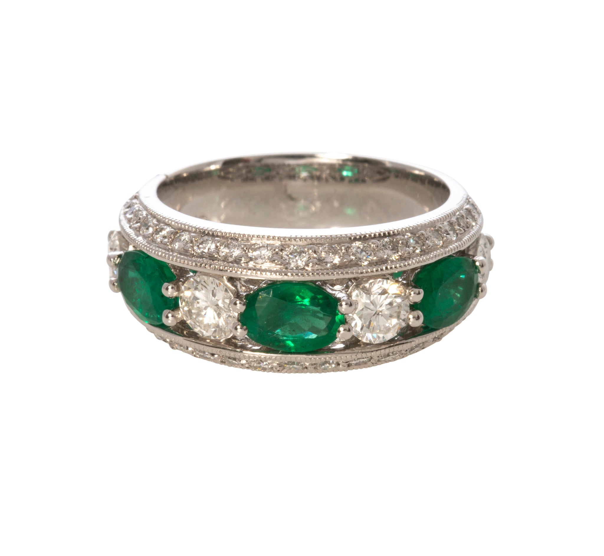 Emerald & Diamond Milgrain 14K Gold Anniversary Band