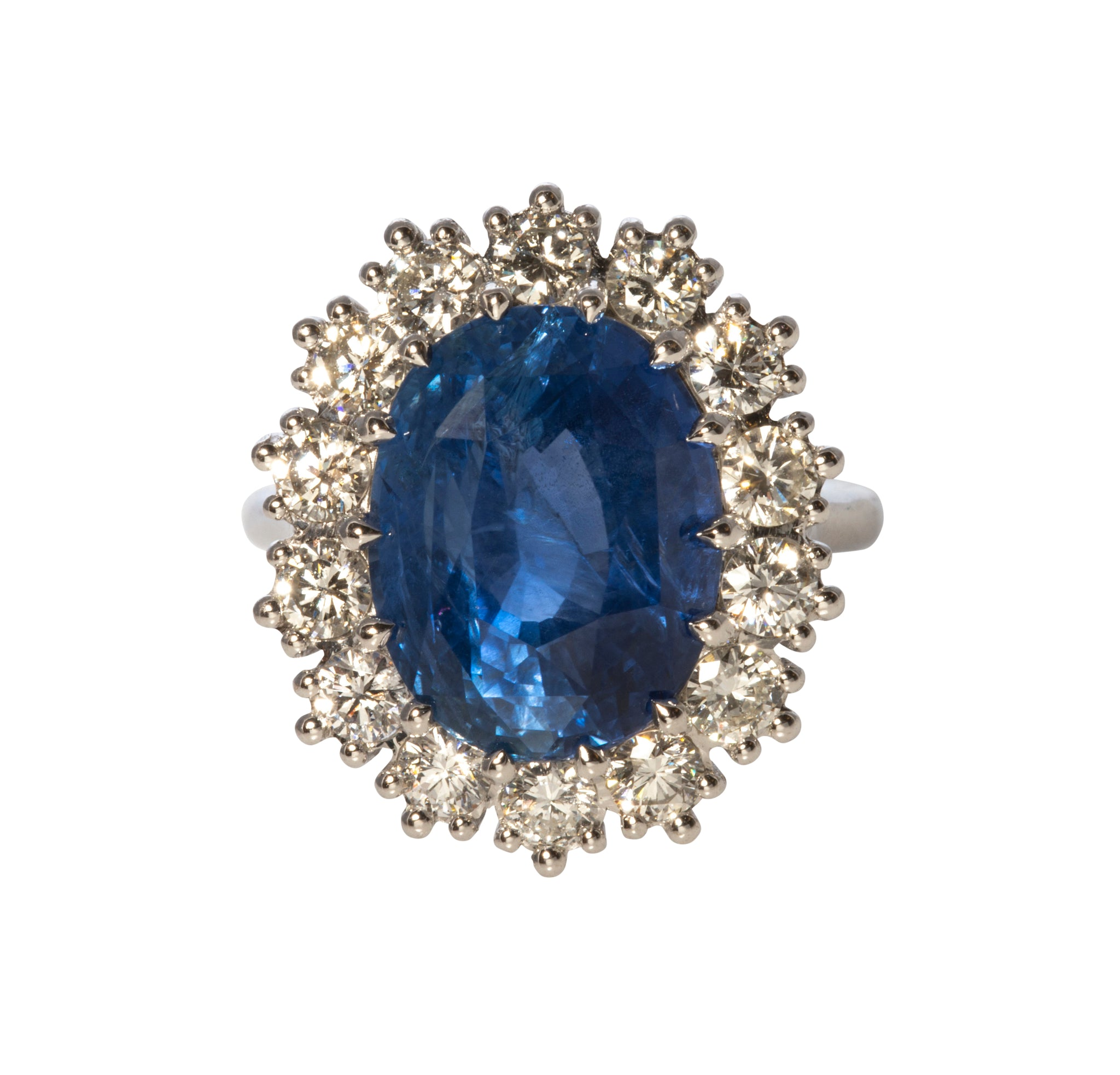 10.15ct No Heat Sapphire & Diamond Platinum Ring