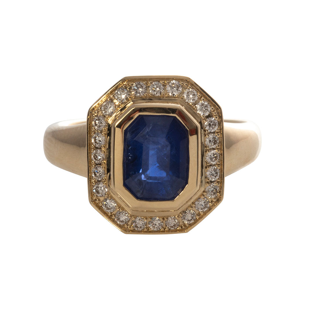Emerald-Cut Blue Sapphire & Diamond 14K Yellow Gold Ring