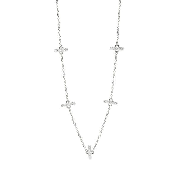 Freida Rothman Silver Radiance Station Short Chain Necklace