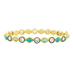 Freida Rothman Shades of Turquoise Hinge Bangle