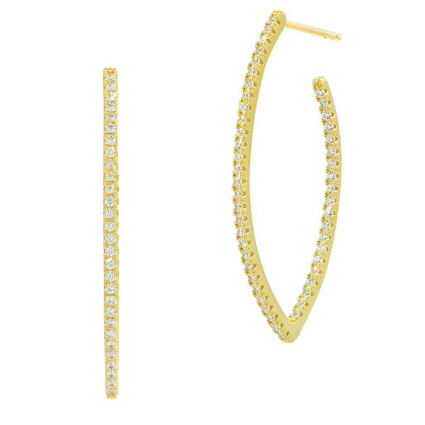 Freida Rothman Allover Pointed Oval Pave Hoop Earrings