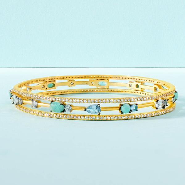 Freida Rothman Touch of Turquoise 3-Stack Bangles