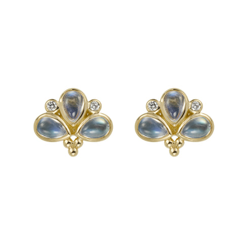 Temple St. Clair Moonstone Fan Stud Earrings