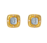 Elizabeth Locke Aqua Square Putto Earrings