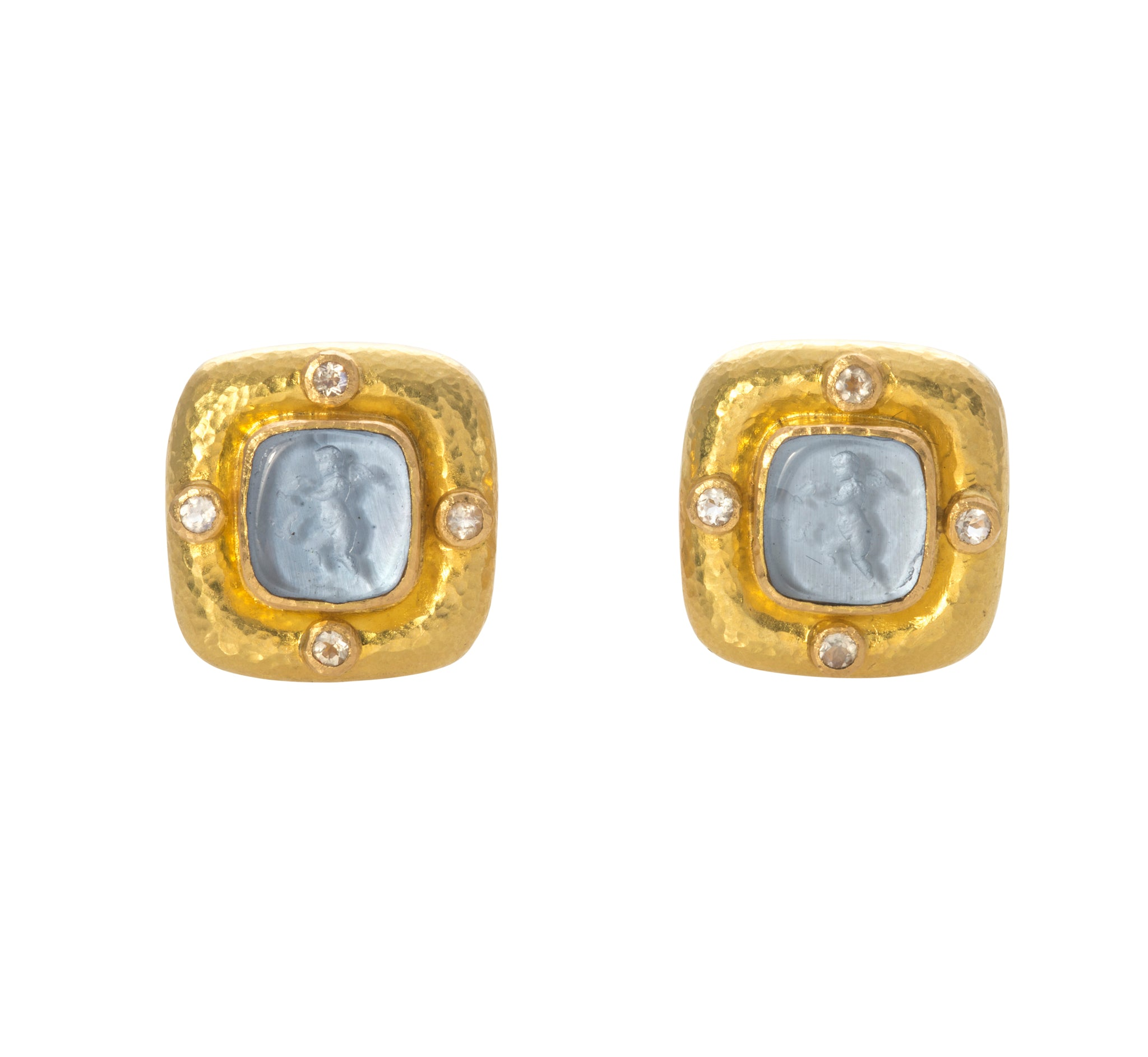 "Elizabeth Locke Cerulean ""Square Putto"" Earrings"