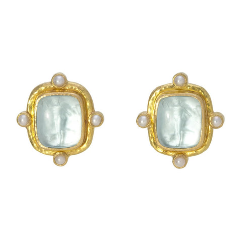 Elizabeth Locke Greek Muse Earrings with Pearls