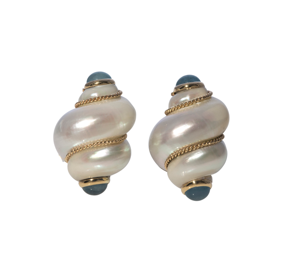 Mazza Aquamarine Shell Earrings