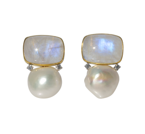 Mazza Moonstone, Pearl & Diamond 14K Gold Earrings