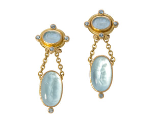 Elizabeth Locke Tiny Chariot Venetian Glass Intaglio Drop Earrings