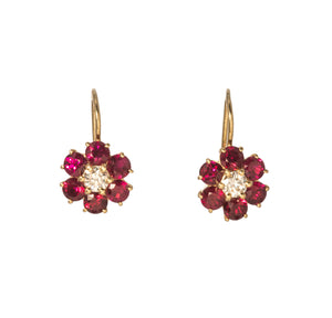 Floral Ruby & Diamond 14K Gold Leverback Earrings