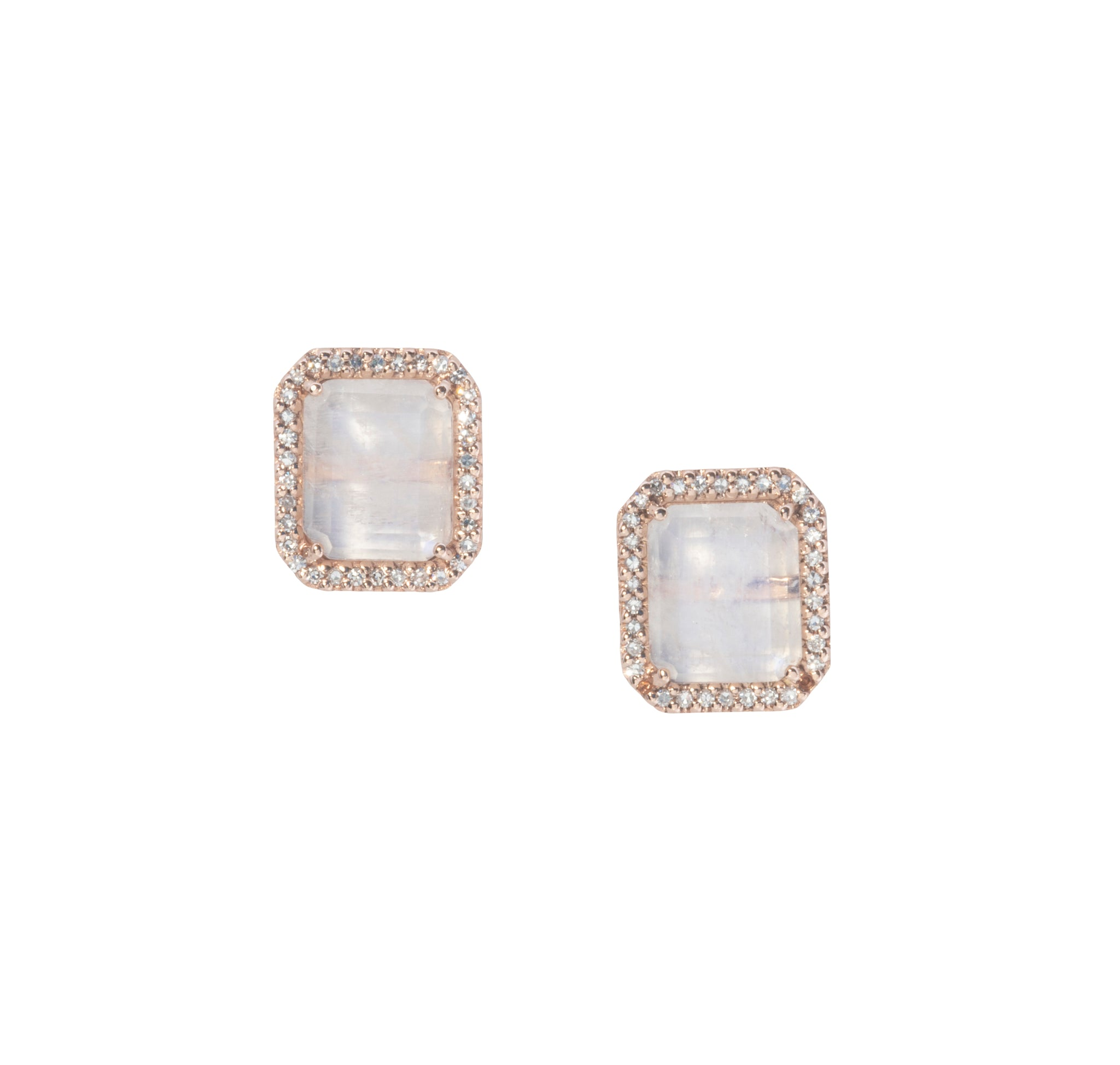 Rainbow Moonstone & Diamond Stud Earrings