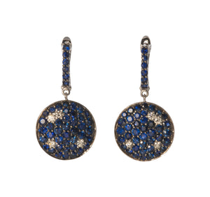 Sapphire & Diamond Disc Drop Earrings
