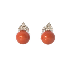 Trio Diamond & Coral Earrings