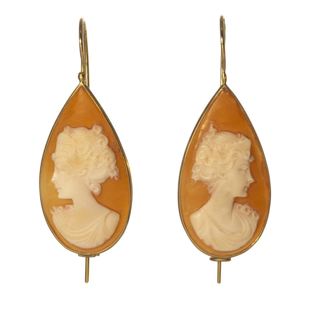 Cameo Teardrop 18K Yellow Gold Earrings