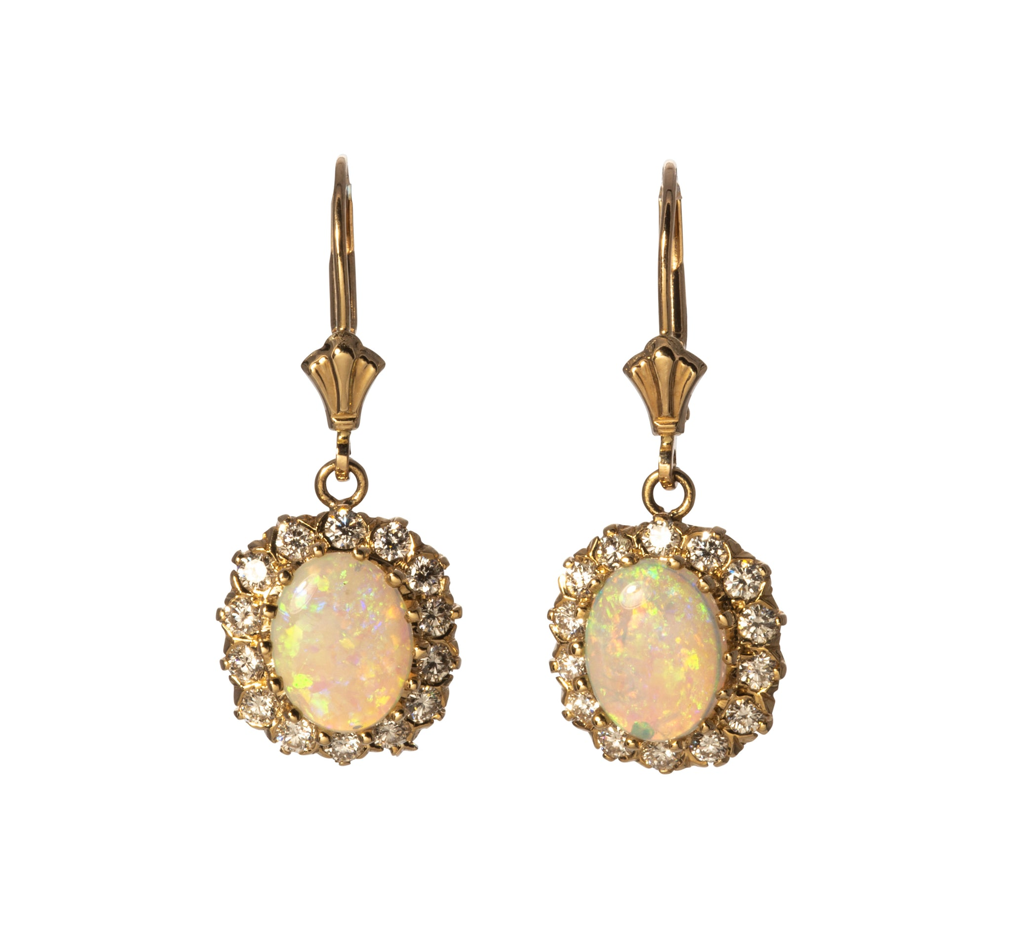 Opal Cabochon, Diamond & 14K Gold Drop Earrings