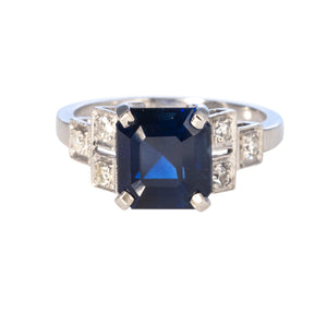 Art Deco Sapphire, Diamond & Platinum Ring