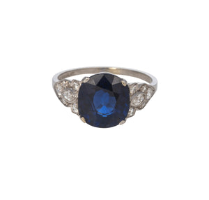 Estate 4.60ct Cushion Sapphire & Diamond Platinum Ring