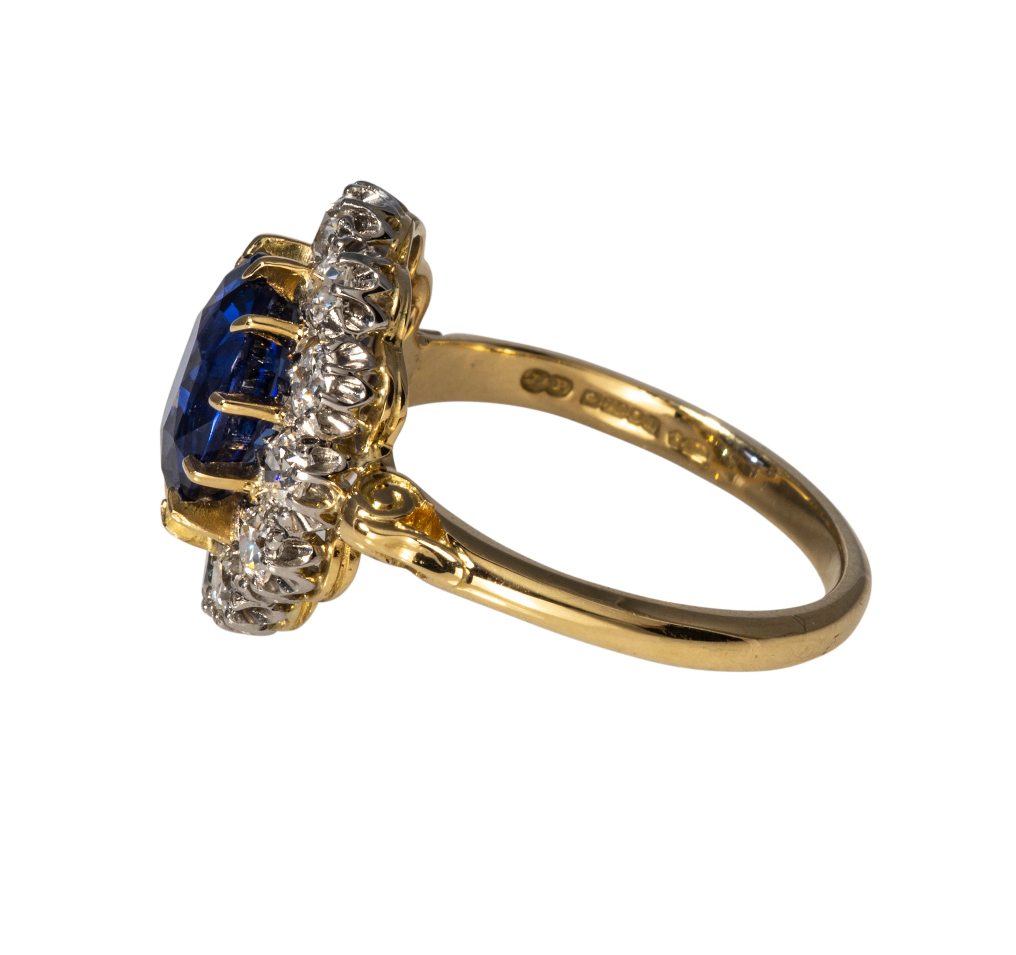 Victorian 3.16ct Sapphire & Diamond Halo Engagement Ring