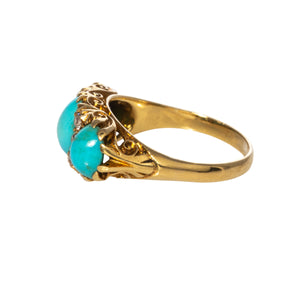 Victorian 3-Stone Turquoise & Diamond 18K Yellow Gold Ring