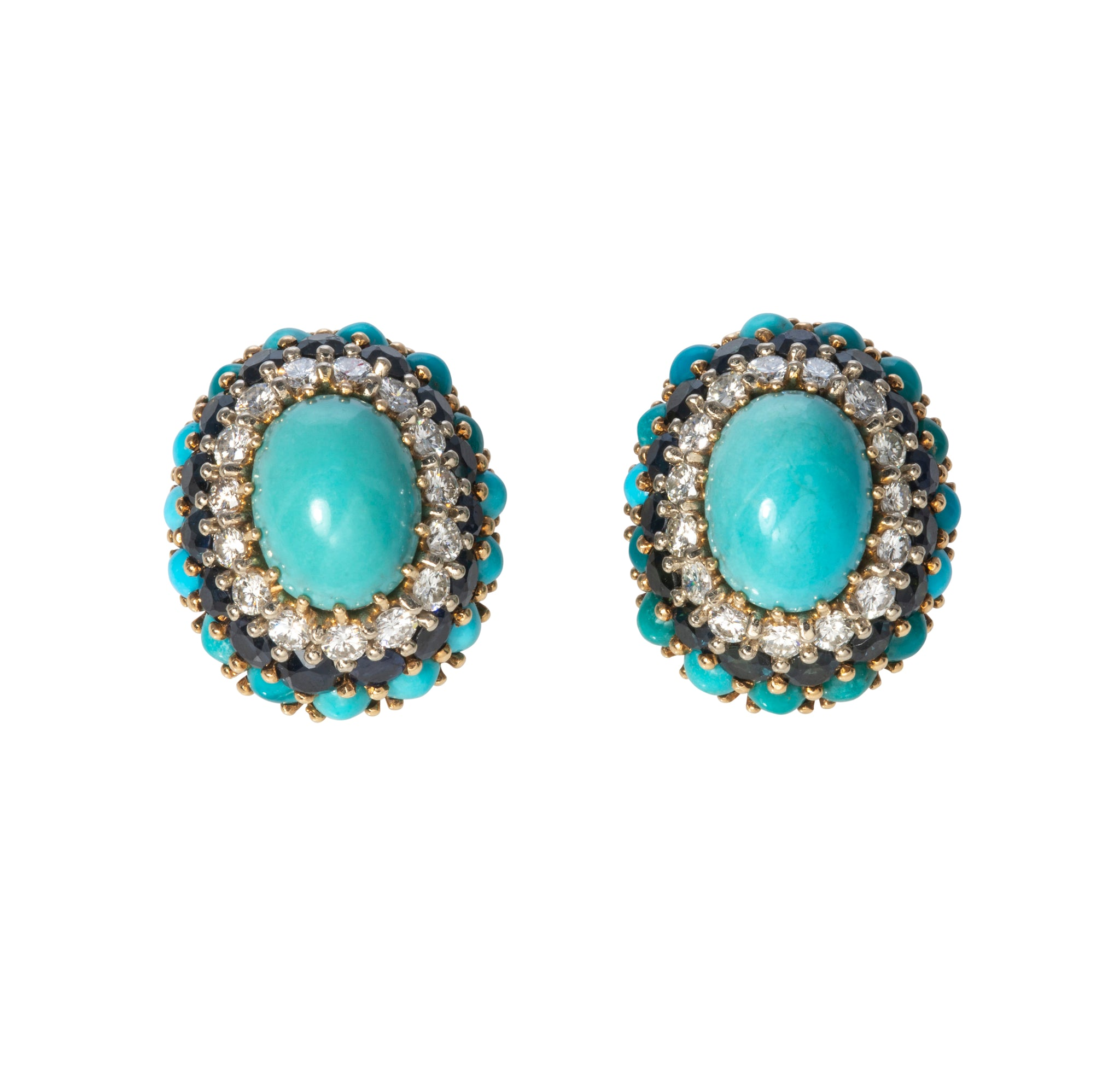 1960s Turquoise, Sapphire & Diamond 18K Gold Earrings