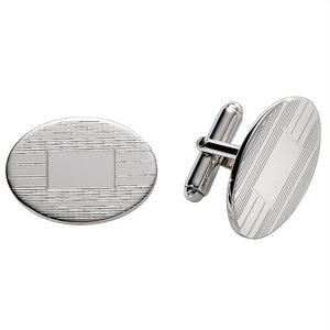 Large Sterling Silver Engine Turn Oval Cufflinks