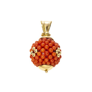 Beaded Coral & 18K Gold Pendant