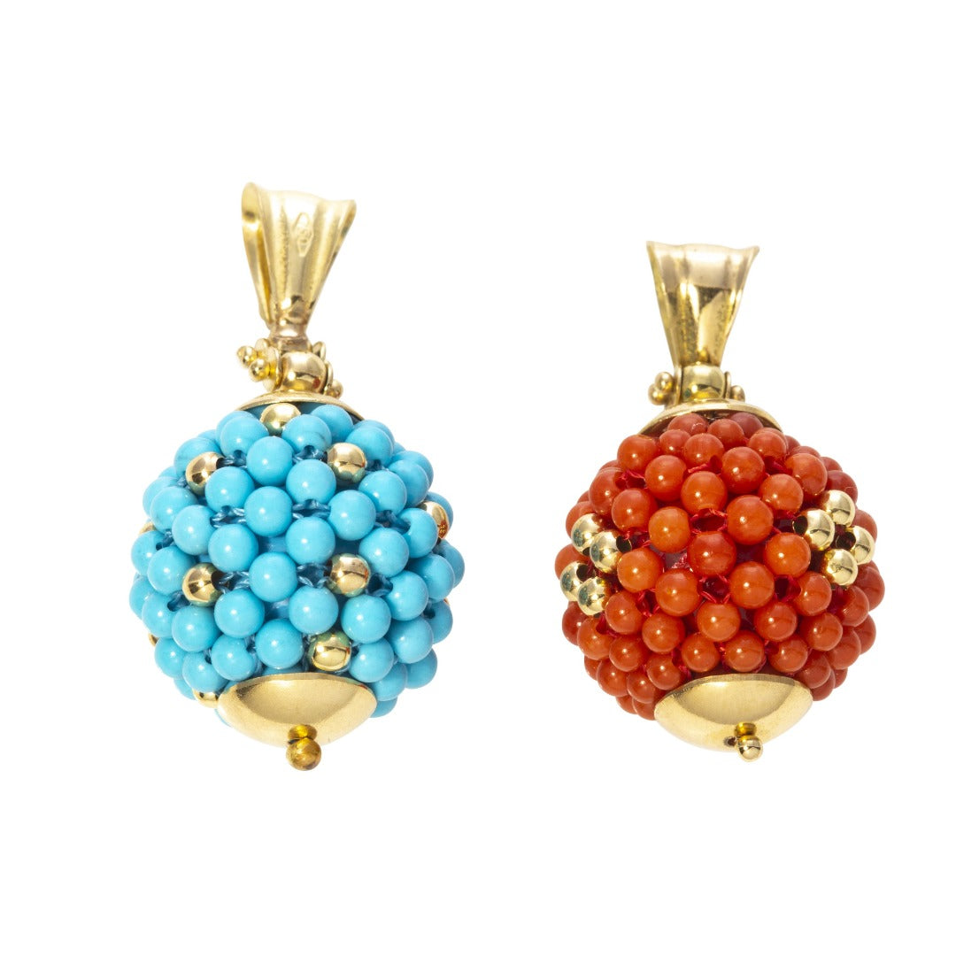 Beaded Coral & 18K Yellow Gold Pendant